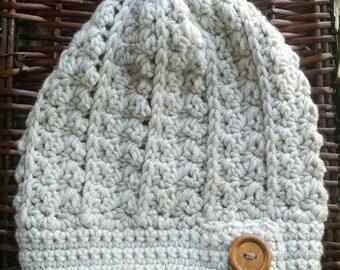 Chunky Ozark slouchy hat/pompoms beanie/natural/cozy/crochet