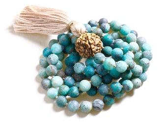 108 bead japa mala, meditation beads, knotted mala beads, buddhist prayer beads, gemstone mala 108, zen mala necklace, cuprite encouragement