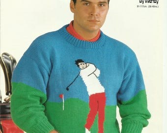 pdf Mens Golf Motif Sweater Knitting Pattern.