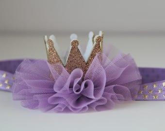 Baby crown headband, Lavender crown headband, Crown headband, Princess crown