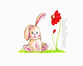 Little Bunny and flower - Nursery decor - Instant download