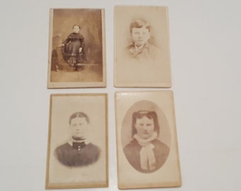 Late 1800s Set of 4 Children's Photographs Sepia Black and White