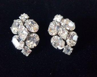 Vintage Diamond Shaped Rhinestone Clip-On Earrings