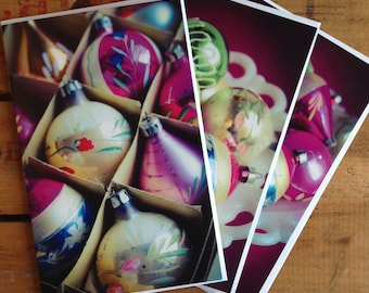 Set of 3 Christmas cards without text, Greeting cards, Gift cards, Holiday cards, Vintage Christmas photography, Vintage Christmas balls