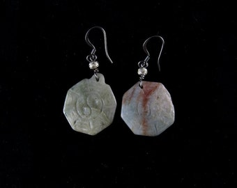 Yin yang jade hexagon earrings