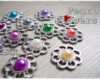 Set of 12 Mixed Plastic Pearl Flowers, scrapbooking embellishments, cardmaking, for cards, cabochon, rainbow colours, pastel set, beads