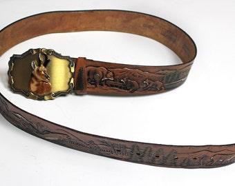Vintage 1978 Leather Wildlife Belt with Brass 3D Buck Raintree Belt Buckle - Size 38