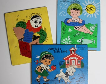 Three Vintage Wood Puzzles Playskool Mermaid, Jack in the Box and Connor Toy Mary Had a Little Lamb