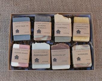 Gift Set of 8 Small Soaps - Birthday Gift, Hostess Gift, Natural Gift, 1.5 oz Organic Soaps - Gift for Women, Gift for Men