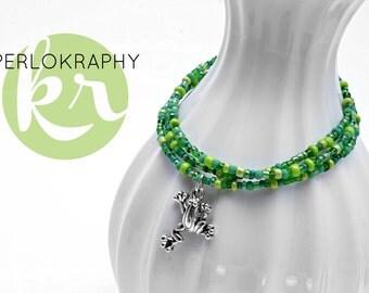 Wrap bracelet ~ 3 x ~ is not a frog | Green