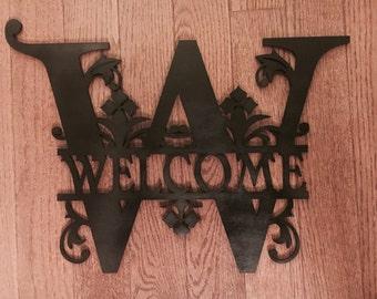 Welcome wood monogram last name or city wood door or wall sign