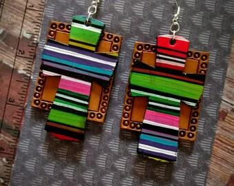 Earrings leather serape cross