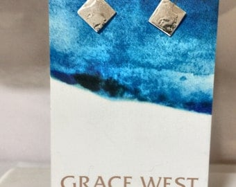 Handcrafted Small Sterling Silver square studs  8mm square FREE postage in australia