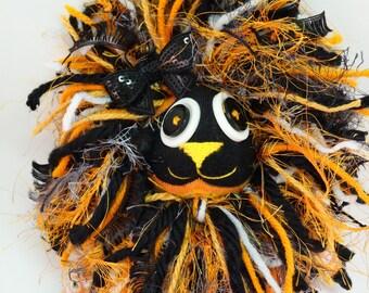 Skullie Lion, Handmade Plush, Sock Lion Toy, 15 in tall Skull Orange Lion, Sock Lion, Sock Toy, Lion Plush, Halloween Toy, Lion, Sock Monkey