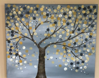 Tree with yellow, gold and gray leaves, landscape, art and collectibles, home decor, wall art, acrylic painting