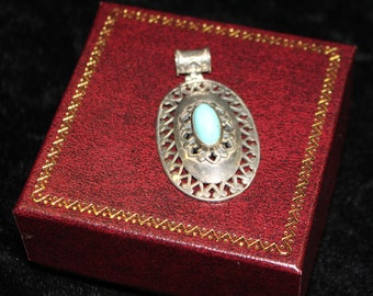 Delicate Turquoise and Silver Oval Pendant