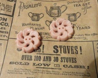 Vintage pink floral swirl button 20 mm x 4