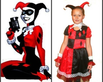 Halloween Harley Quinn Costume Red Black Dress Girl Outfit Kids Party Set Daddys Lil Monster Suicide Squad Puddin Harley Jokers Girlfriend