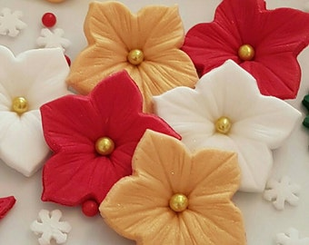 Christmas Cake Toppers to choose in Red, White and Gold Edible Sugar Paste