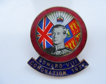 King Edward VIII Stratton, Enamelled CORONATION PIN, (To be)  Crowned May 12th 1937, Made in England, Royal Souvenir