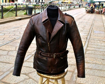 BROWN AGED LEATHER jacket cafe racer leather nail sz M