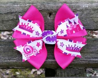 Princess Hair Bow (crown, castle, carriage) 4 inch
