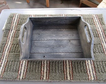 Primitive Distressed Wood Rustic style Serving Tray with handles
