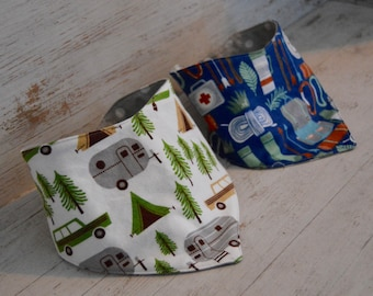 Camping Inspired Bandana Bibs ~ Baby Bibs ~ Drool Bibs ~ Boy ~ Girl ~ Double Snap Bibs ~Camping Print~Gray Polka Dot~ Green, Gray, Brown
