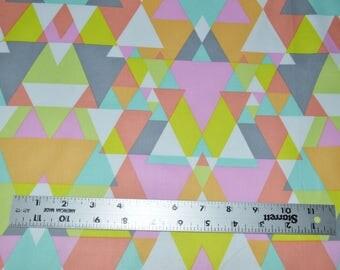 Neon Color Triangles Fabric, Pink Blue Green Fabric, Premium Quality Fabric, Geometric Fabric