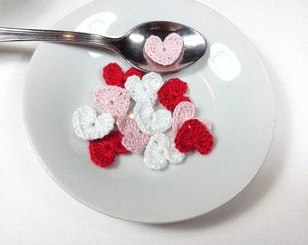 Crochet Hearts Appliques Mini Hearts Set 12 Pz Crochet Micro Hearts  Crochet Scrapbooking/Crochet  Appliques/ Mini applique heart micro love