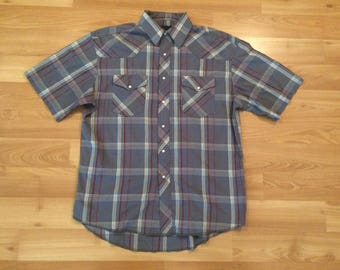XL vintage Wrangler pearl snap button shirt short sleeve gray red flannel size 16