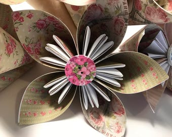 Hand Folded Flowers, Set of 5 Paper Flowers Handmade, Origami, Paper Flowers, Godt, Wedding, Decorative, Bouquets, Floral Flower Designs,
