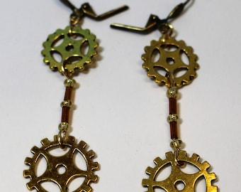 Gold steampunk gear earrings