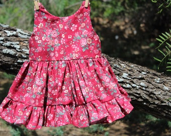 red floral ruffle mini dress