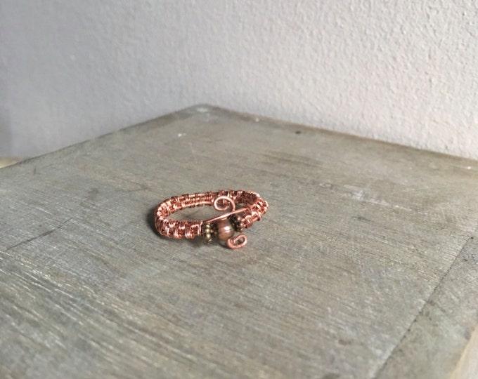 Stunning Artisan Brown Beaded Bohemian  Ring