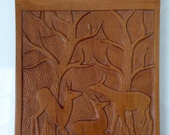 Vintage Carved Animal Woodland - Solid Wood Notebook/Memo Holder