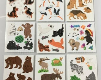 Vintage Fuzzy Sandylion Sticker Lot. Dogs, Cranes, Bears, Lambs, Cats, Moose