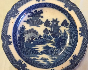 Flow Blue Soup Bowl with Pastoral Setting, 1800's Transferware