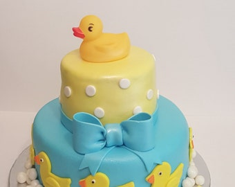 Rubber Ducky Fondant Covered Baby Shower Cake