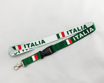 Italy/Italia flag reversible lanyard with detachable clip for keys or id badges
