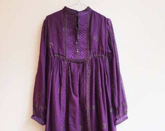 Vintage indian cotton hippie boho seventies dress s/m