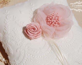 Wedding ring pillow. Blush pink flower ring pillow,ring bearer pillow,wedding gift ,wedding Accessories.White lace wedding ring pillow