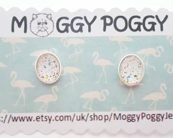 Sterling silver 8 x 10 mm spotted polka dot ear stud stud earrings