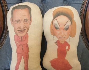 Divine/John Waters Inspired Custom Plush Doll (Handmade Stuffed Soft Plushy Ornament /Pink Flamingos/ Babs Johnson/ Female Trouble)