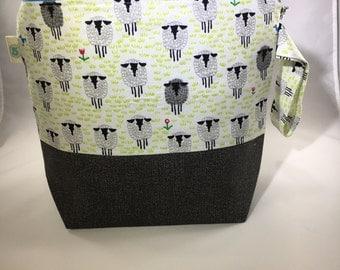 Sheep Knitting Crochet Craft Zippered Project Bag