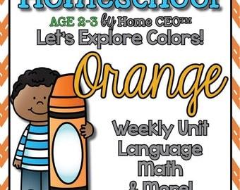 Preschool Homeschool Orange Unit