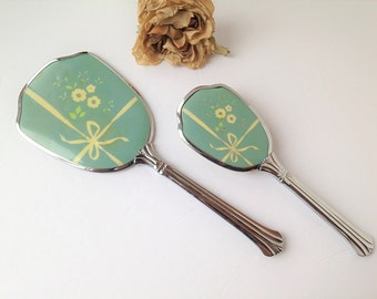 Antique vanity mirror and brush / vanity set / vintage vanity / antique mirror / antique vanity set / dresser vanity set / mint green mirror