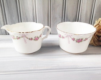 Collingwoods China Cream and Sugar / Pink flower cream and sugar / vintage cream and sugar / China cream and sugar / Collingwoods China