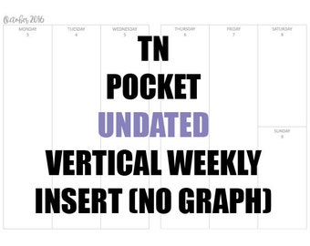 TN Pocket (NO GRAPH) undated Insert: MO2P, Vertical WO2P, Habit Tracker, Online Order Tracking, Monthly Goals & Reflections Pages