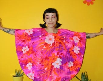 Vintage 1960's 1970's Hot pink neon floral accordion pleated tunic mini dress, beach cover up